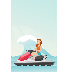 Caucasian woman riding on water scooter in the sea vector