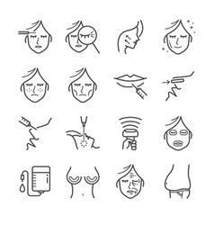 cosmetic surgery line icon set vector image vector image