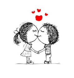 Couple kissing valentine sketch for your design vector image vector image