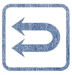 Double left arrow fabric textured icon vector