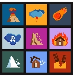 Flat disaster damage icons vector