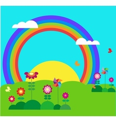 garden with butterfly rainbow vector image vector image