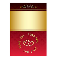 Gold and red bright romantic card with hearts vector