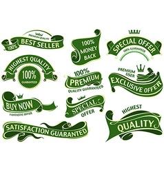 Green banner ribbon set vector