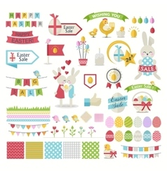 Happy Easter icons Set vector image vector image