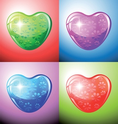 Heart shapes on colorful background vector image vector image