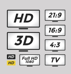 High definition icon and TV monitor vector image vector image