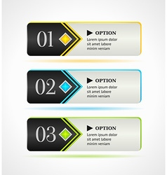 Horizontal black options banners or buttons vector