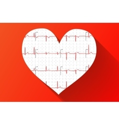 Human electrocardiogram in heart shape with long vector