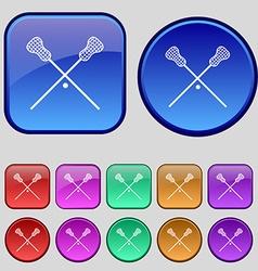 Lacrosse sticks crossed icon sign a set of twelve vector