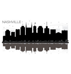 Nashville tennessee usa city skyline black and vector