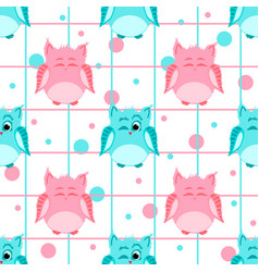 pink and blue colored smiling and winking owls vector image