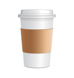 Realistic paper coffee cup 3d realistic coffee vector