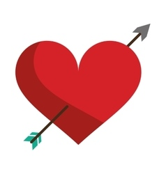 red heart with arrow love symbol vector image