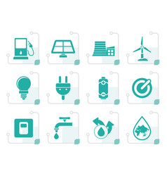stylized ecology power and energy icons vector image vector image