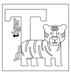 Tiger letter t coloring page vector