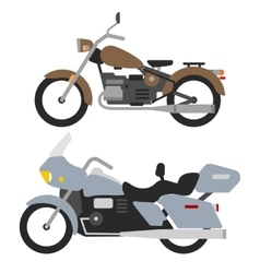 two retro motorbikes isolated on white vintage vector image vector image