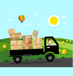 Van with parcels on rural road landscape natural vector