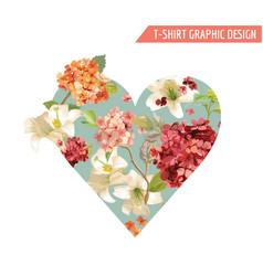 Vintage autumn flowers graphic design for t-shirt vector