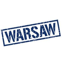 Warsaw blue square stamp vector