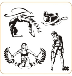 Woman engaged in fitness - vector