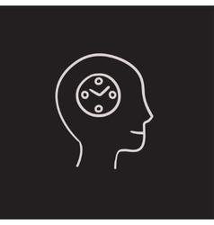 Human head with clock sketch icon vector image