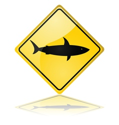 Shark warning sign vector