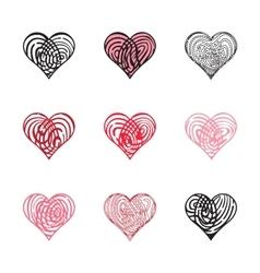 Fingerprint Heart Collection vector image