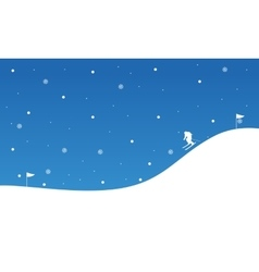 Landscape of people skiing downhill christmas vector
