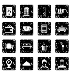 Hotel icons set grunge style vector