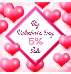Big valentines day sale 5 percent discounts with vector