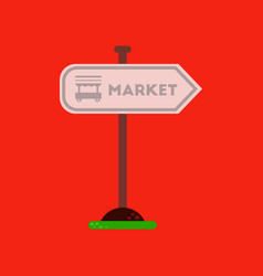 flat icon on background sign of market vector image