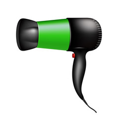 Electric hair dryer in green design vector