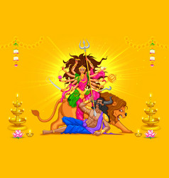 Happy dussehra with goddess durga vector