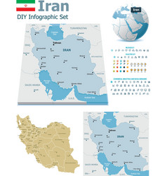 Iran maps with markers vector