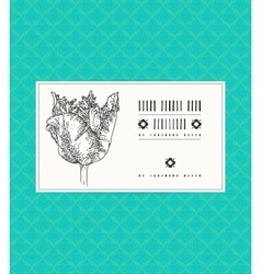 Card with tulip on ornamental pattern vector
