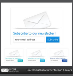 Light subscribe to newsletter form with white vector