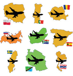 fly me to the Romania Russia South Africa South Ko vector image