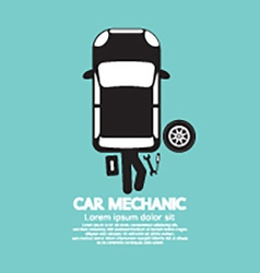 Car mechanic repairing under automobile vector