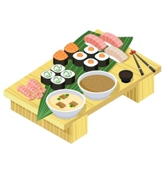 Japanese food sushi and rolls on wooden stand vector