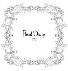 Floral black and white frame vector image