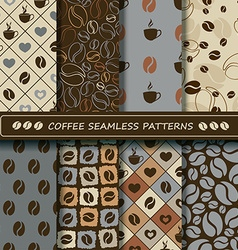 Set of coffee seamless pattern vector