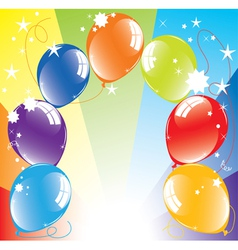 Colorful balloons and light-burst vector