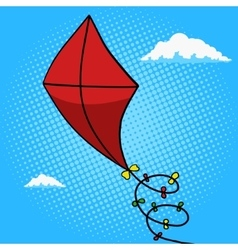 Kite in sky pop art style vector