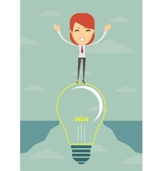 Businesswoman on a bulb cross an abyss vector