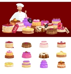 Confectionery shop sale set of sweets cakes vector