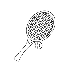 Tennis racket with tennis ball icon outline style vector