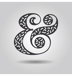 Abstract textured ampersand icon on gray gradient vector