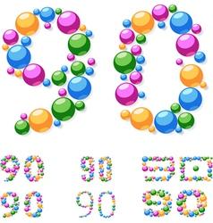 Alphabet symbols of colorful bubbles or balls vector image vector image