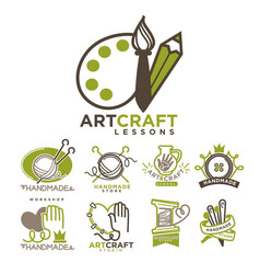 Art and handmade craft logo templates flat set vector